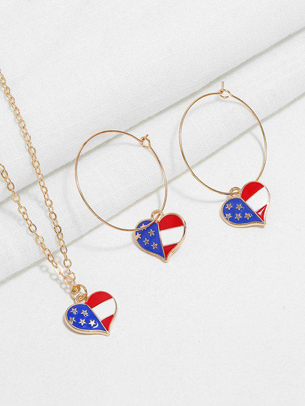 Fancy American Flag Necklace and Earrings