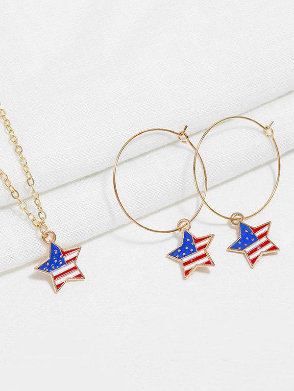 Sale American Flag Necklace and Earrings