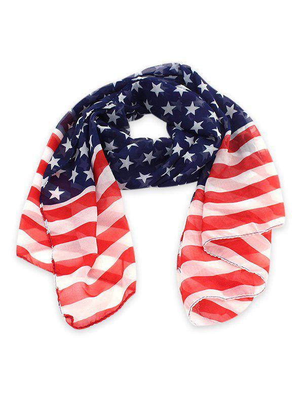 Outfit American Flag Chiffon Long Scarf
