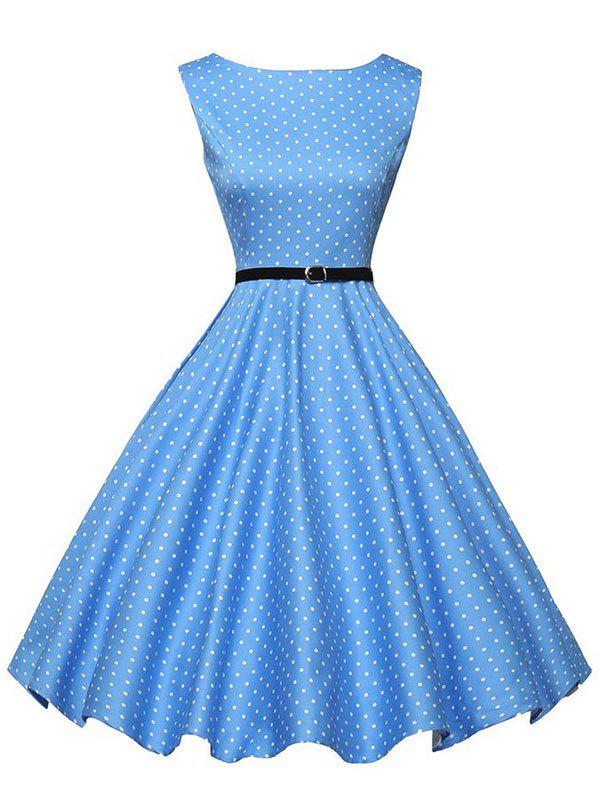 New A Line Polka Dot Print Dress