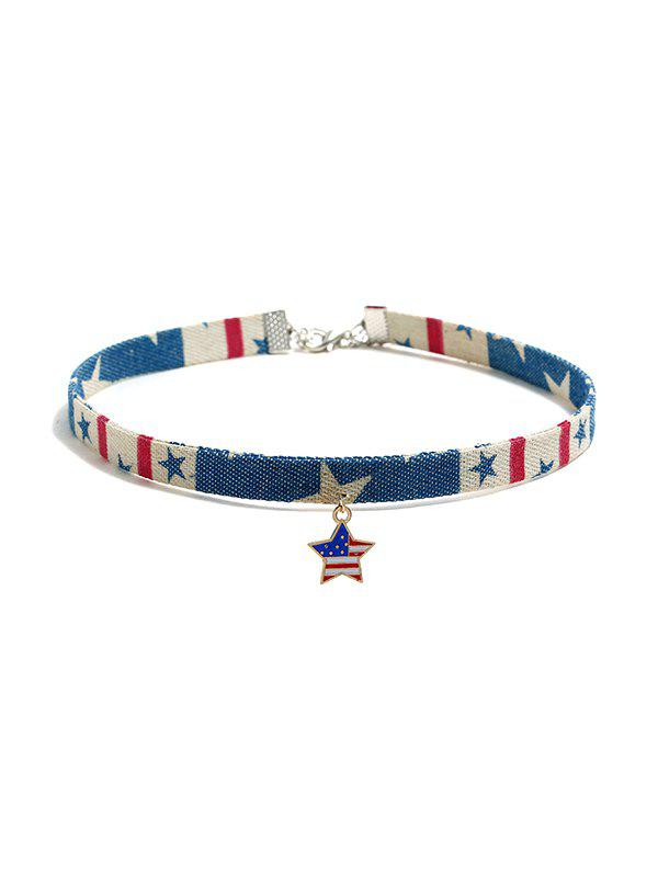 Hot Jeans Flag Pattern Choker Necklace