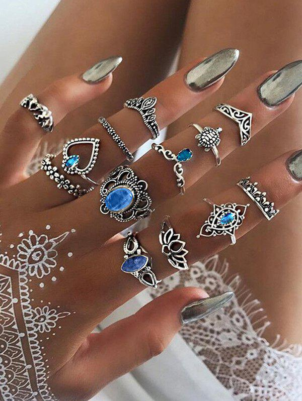 Store 13Pcs Vintage Hollow Faux Gem Ring Set