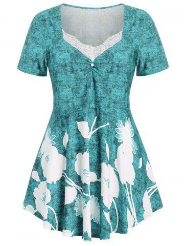Plus Size Floral Marled T-shirt