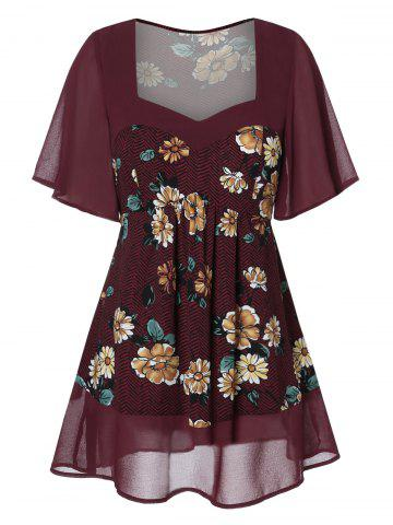 a9f855dc95c Plus Size Sweetheart Neck Spliced Floral Blouse