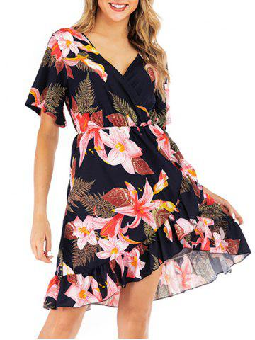 Surplice Flower Print Flounce Casual Dress