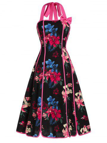 Flower Print Halter Bowknot Dress