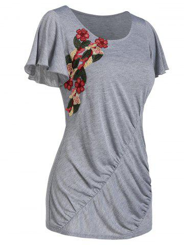 Butterfly Sleeve Embroidered Ruched Tee