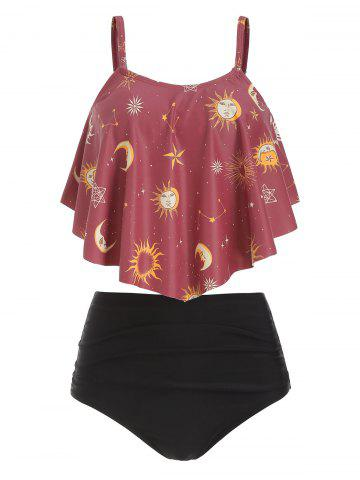 736c8fd88 Sun and Moon Print Ruched Tankini Swimsuit
