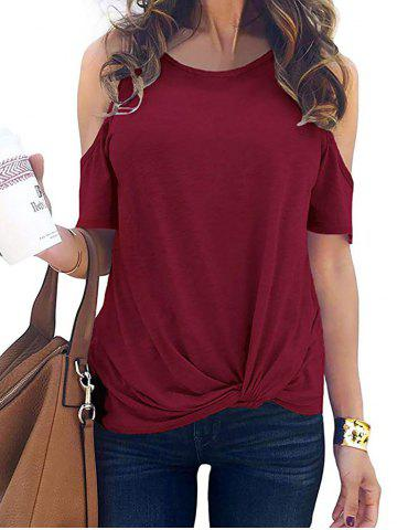 Cold Shoulder Twisted Plain T-shirt
