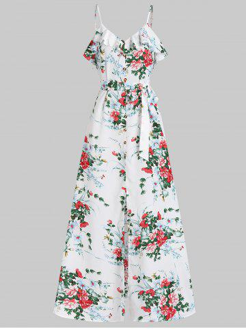 Flower Print Spaghetti Strap Flounce Maxi Dress