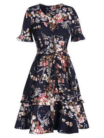 Flower Print Flare Sleeve A -line Belted Dress