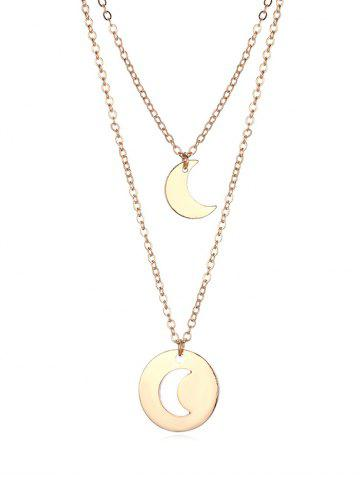 Hollow Moon Layered Pendant Necklace