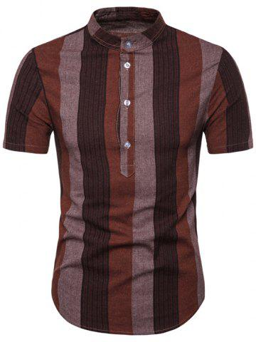 Striped Pattern Button Decoration Casual Shirt