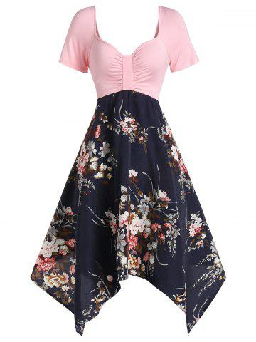 Sweetheart Neck Flower Asymmetric Midi Dress