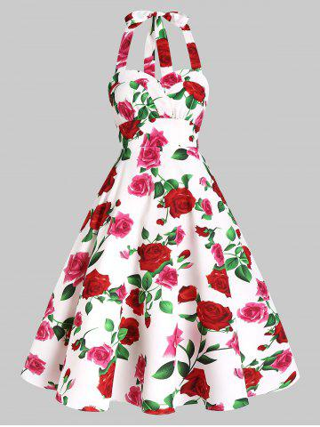 Rose Flower Print Vintage Halter Dress