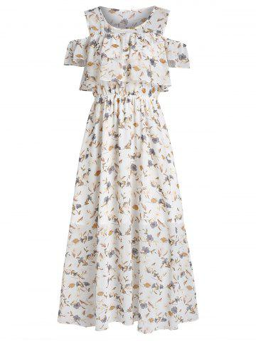 Floral Print Cold Shoulder Midi Popover Dress
