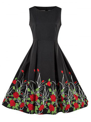 Round Neck Floral Print Sleeveless Flare Dress