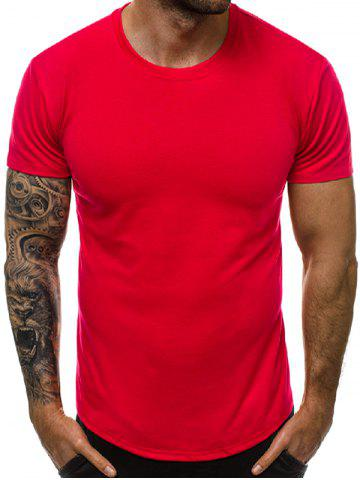 Solid Color Round Neck Short Sleeves Tee