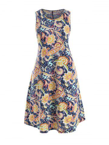 Seam Pockets Paisley Printed A Line Plus Size Dress