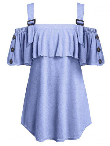 Plus Size Open Shoulder Flounce T Shirt - PURPLE MIMOSA - 2X