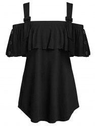 Plus Size Open Shoulder Flounce T Shirt -