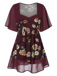 Plus Size Sweetheart Neck Spliced Floral Blouse -