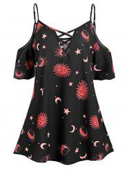 Cold Shoulder Star Sun And Moon Plus Size Blouse -