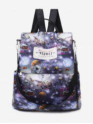 Printed Multifunctional Canvas Backpack -