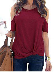 Cold Shoulder Twisted Plain T-shirt -