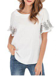 Floral Embroidered Cuffs Raglan Sleeve Blouse -