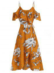 Flower Print Open Shoulder Flounce Wrap Dress -