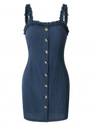 Frilled Square Neck Knotted Mini Dress -