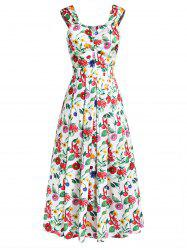 Flower Print Sleeveless A-line Dress -