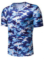 Camouflage Print Leisure Short Sleeves T-shirt -