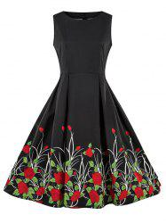 Round Neck Floral Print Sleeveless Flare Dress -