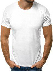 Solid Color Round Neck Short Sleeves Tee -