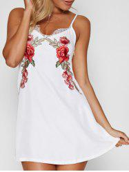 Lace Panel Floral Embroidered Mini Dress -