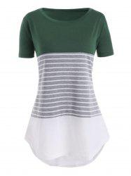 Color Block Stripes High Low Plus Size Tee -