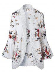 Flower Print Crochet Panel Bell Sleeve Cardigan -