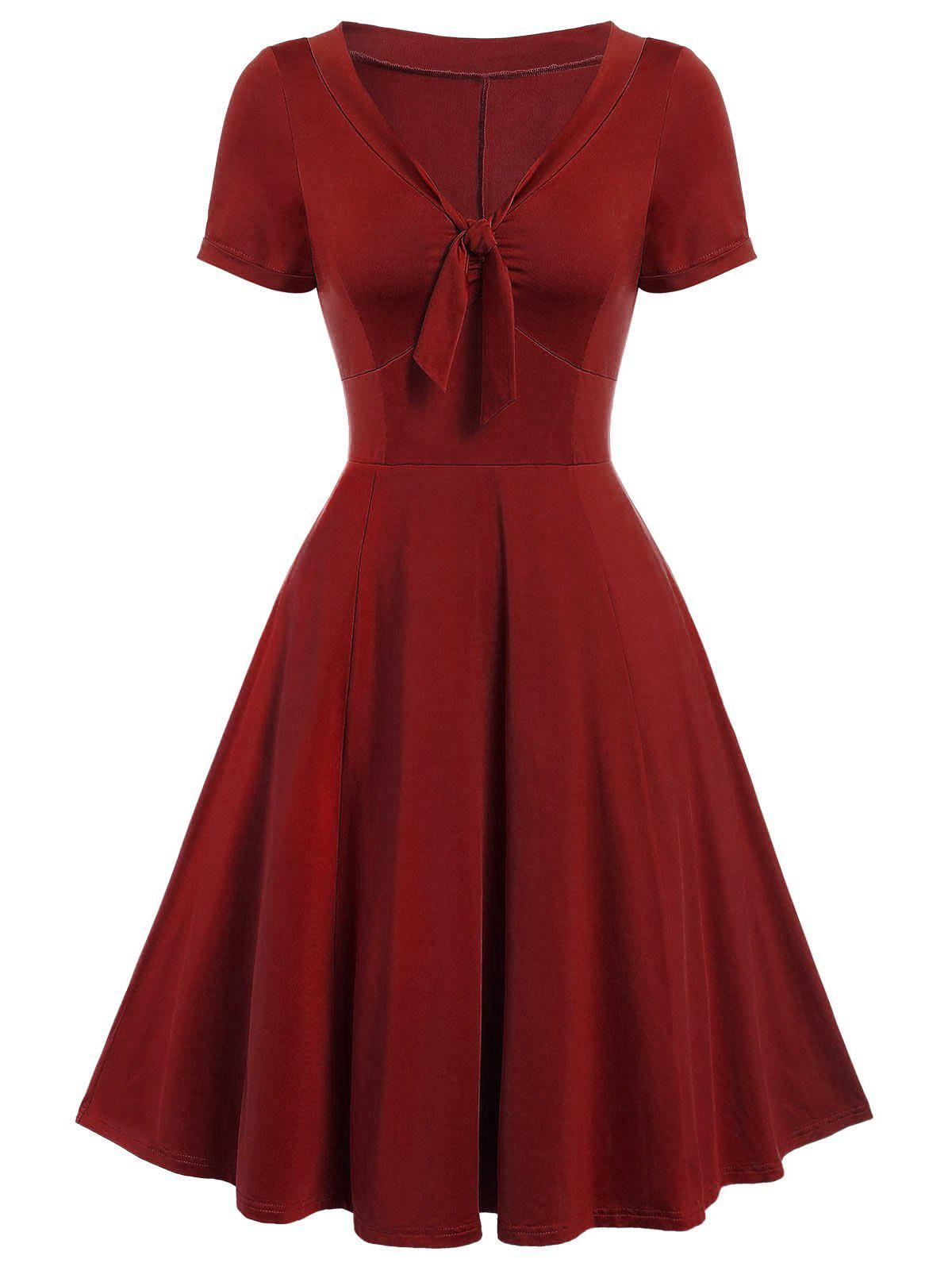 Online Vintage Bow Tie Fit and Flare Dress