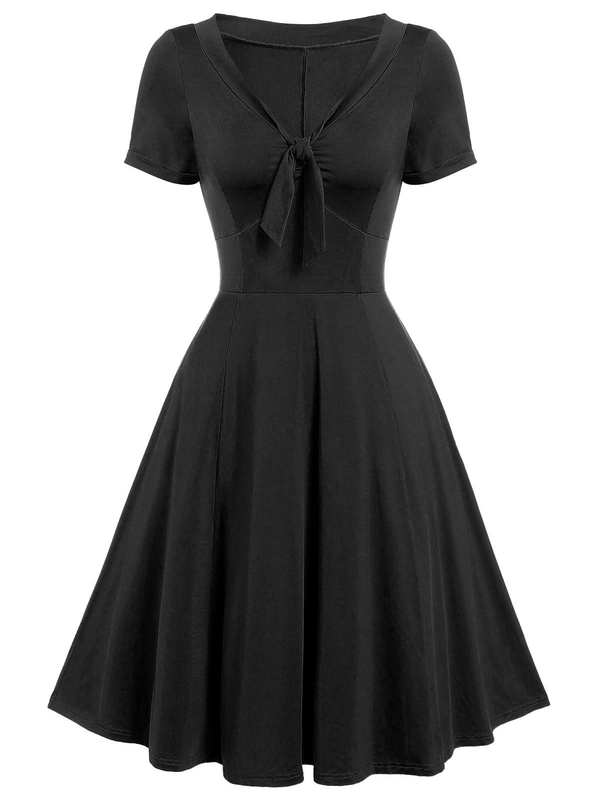 Sale Vintage Bow Tie Fit and Flare Dress