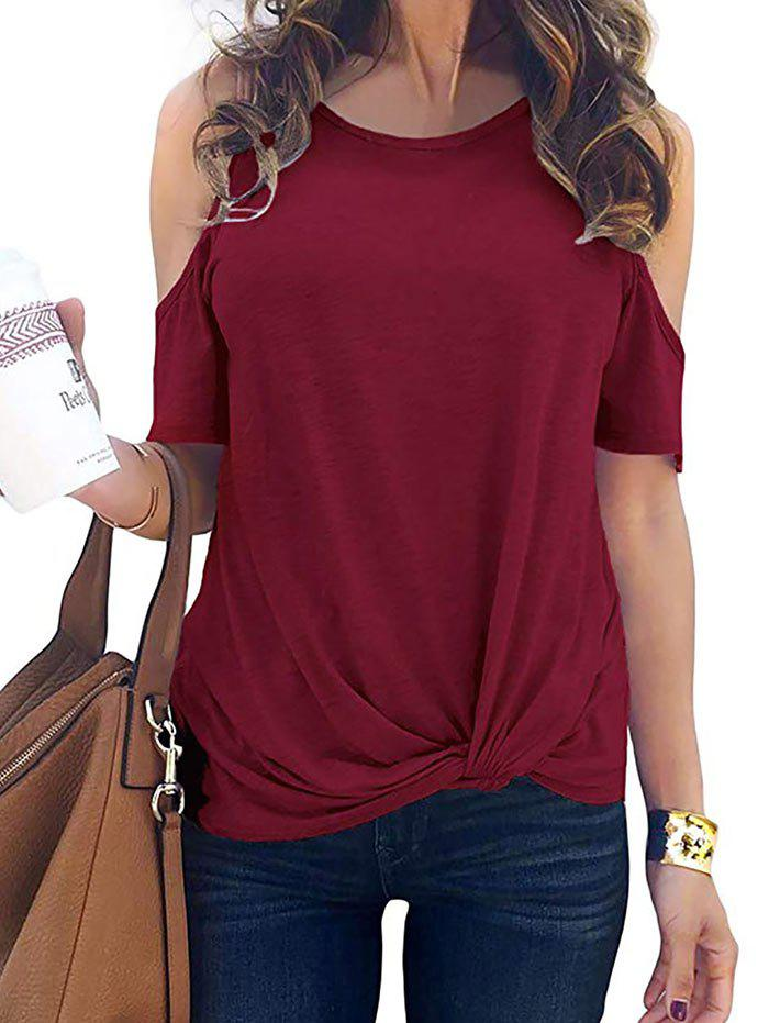 Outfits Cold Shoulder Twisted Plain T-shirt