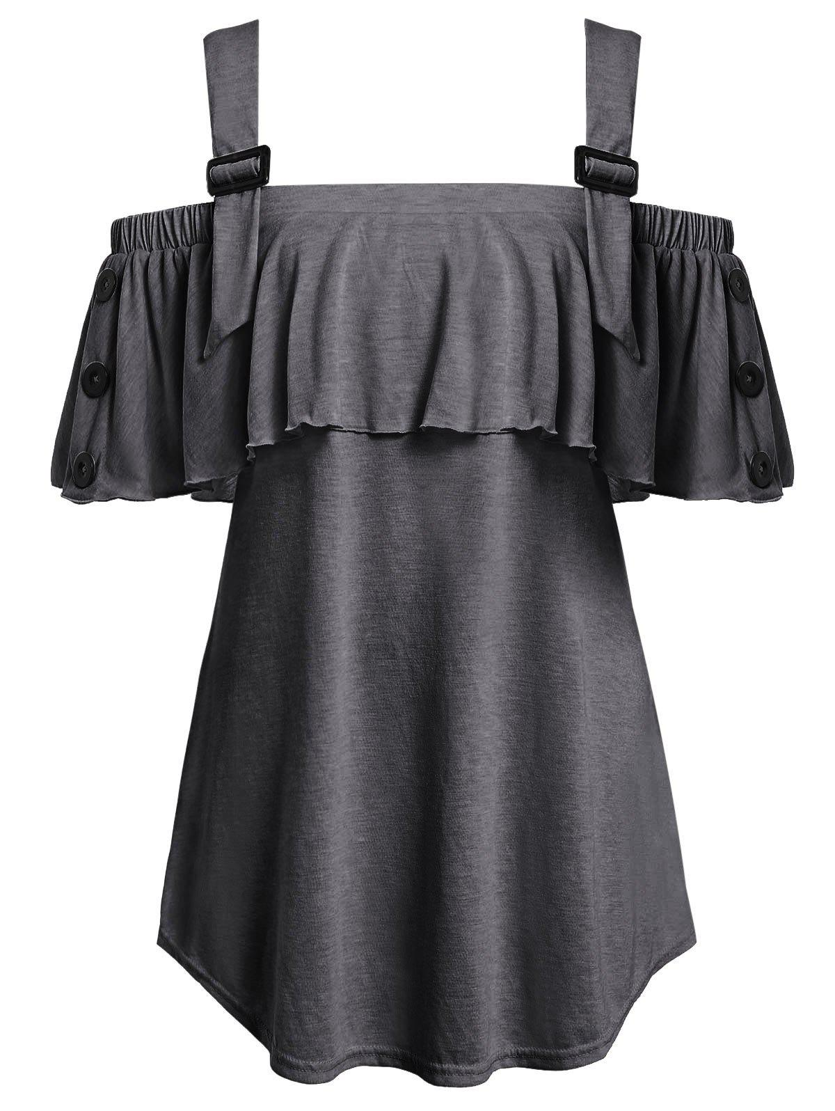 Store Plus Size Open Shoulder Flounce T Shirt