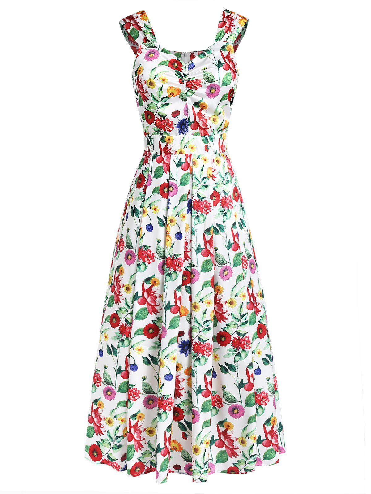 Discount Flower Print Sleeveless A-line Dress