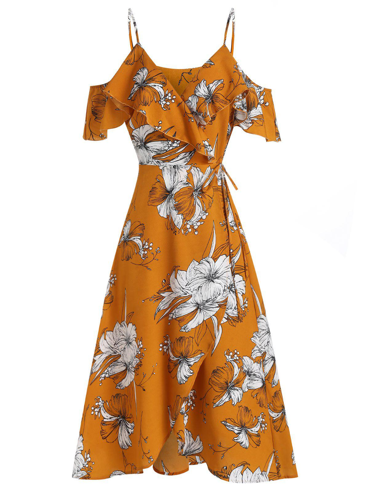 Hot Flower Print Open Shoulder Flounce Wrap Dress