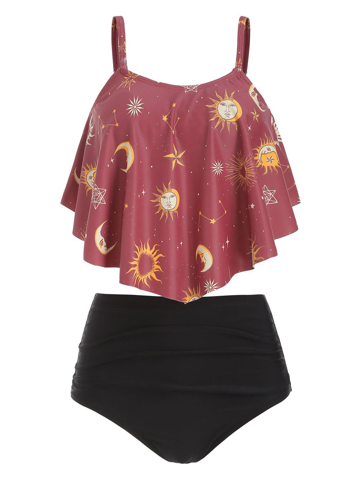 Chic Sun and Moon Print Ruched Tankini Swimsuit