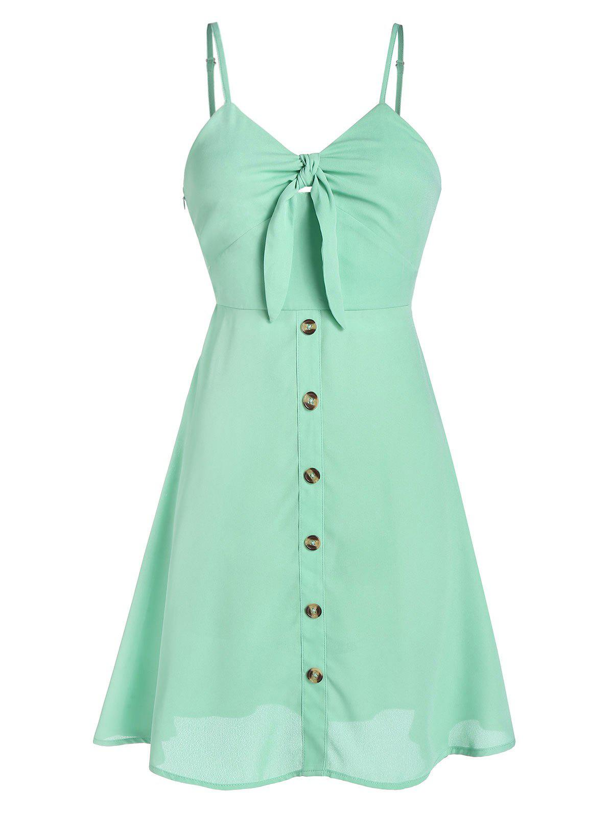 Fancy Knot Front Spaghetti Strap Button Skater Dress