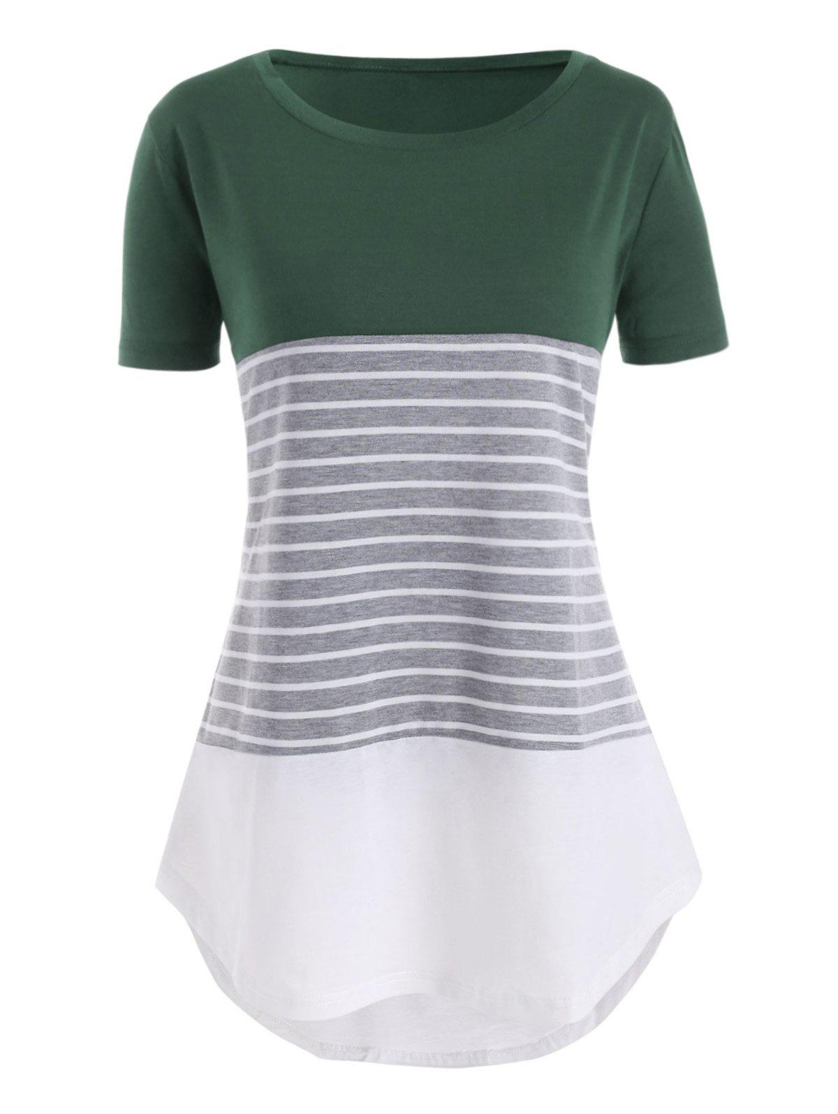 Outfits Color Block Stripes High Low Plus Size Tee