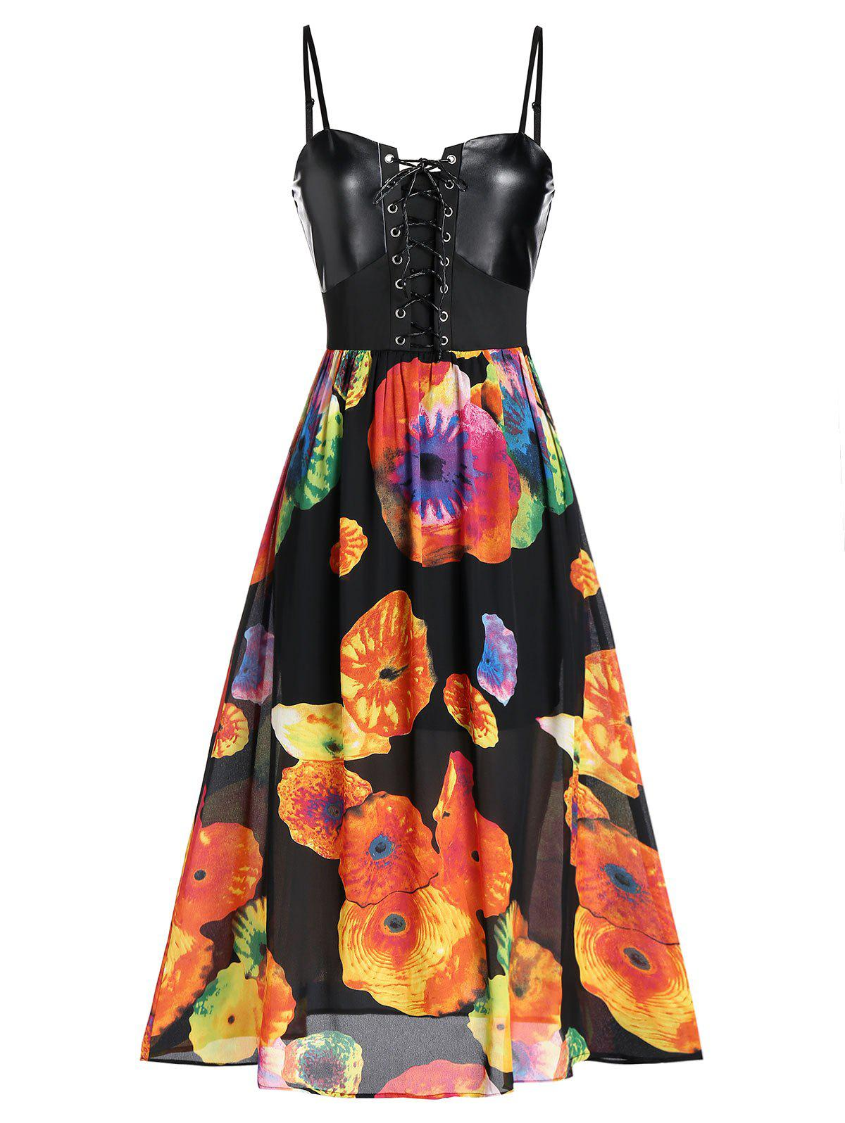 Affordable Flower Print Spaghetti Strap Lace-up Dress