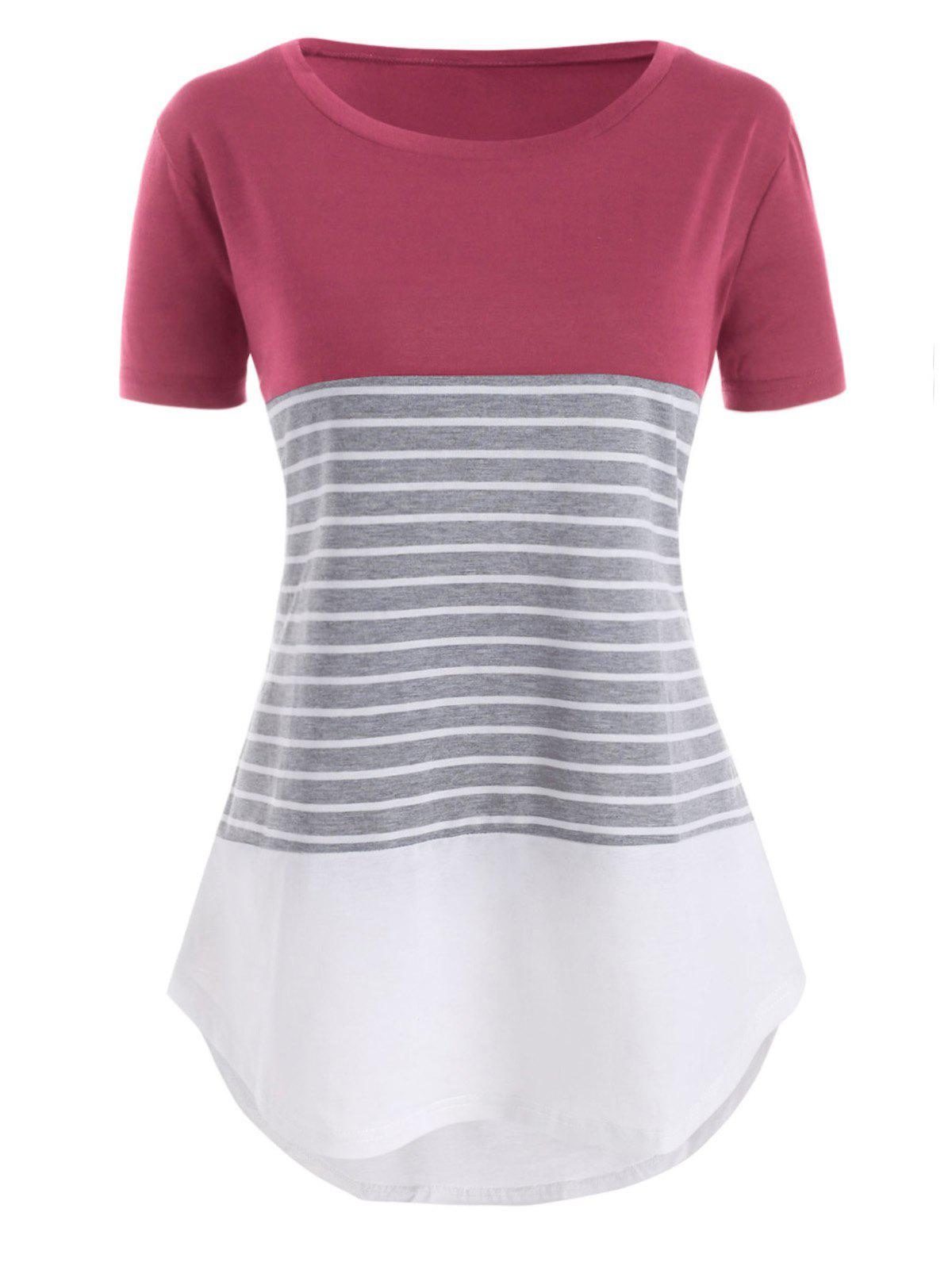 Store Color Block Stripes High Low Plus Size Tee